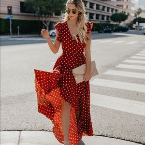 VICI Collection Mama Mia Polka Dot Wrap Maxi Dress